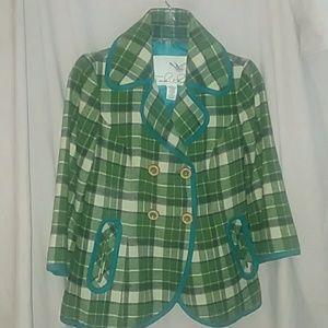 Tabitha green plaid swing coat